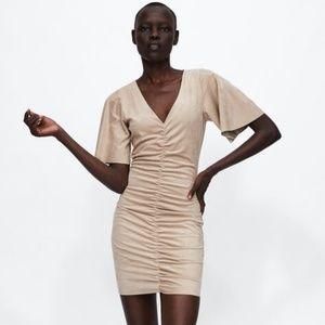 NWT Zara Size S Faux Suede Draped Dress